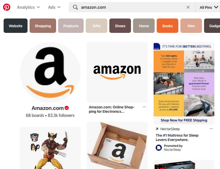 Amazon Pinterest Page