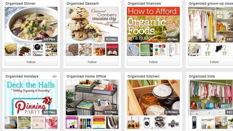 Pinterest Board Organization