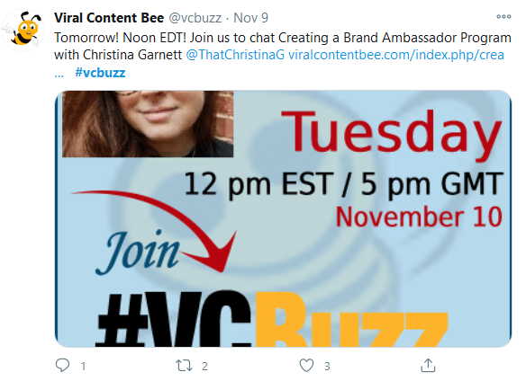 How to create a Twitter chat: image showing the #vcbuzz shoutout on Twitter