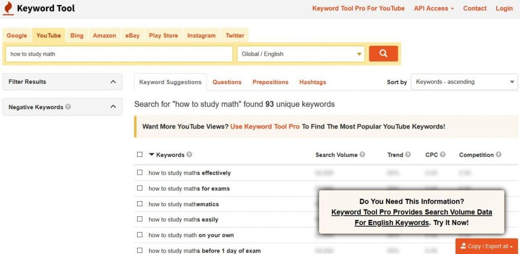 YouTube Keyword Research: KeywordTool.io